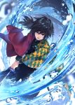 1boy black_hair blue_eyes blurry commentary_request depth_of_field haori highres holding holding_sword holding_weapon japanese_clothes kimetsu_no_yaiba long_hair long_sleeves looking_at_viewer male_focus open_mouth rupinesu serious sheath signature solo sword tomioka_giyuu two-handed uniform water water_drop weapon