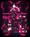 1girl absurdres apple black_background black_footwear black_gloves black_legwear book bottle brush candle clock closed_eyes closed_umbrella coffin crack dress fire fishnets flame flower food fork fruit glove_bow gloves hat highres huge_filesize jar knife long_hair mogmogyasai multiple_monochrome open_book original phonograph pink_outline pink_theme rose shoes simple_background sitting solo sparkle teapot top_hat umbrella white_hair