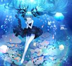 1girl 39 ahoge air_bubble aqua_hair aqua_nails bangs bare_legs bare_shoulders barefoot black_dress blue_eyes blue_hair blue_theme blurry bubble caustics coral covered_mouth covering_mouth crossed_arms cube cyawa dated dress fish flat_chest floating_hair full_body hair_between_eyes hair_ribbon hand_over_own_mouth hatsune_miku highres long_hair looking_at_viewer nail_polish plantar_flexion ribbon shinkai_shoujo_(vocaloid) sleeveless sleeveless_dress solo submerged twintails underwater very_long_hair vocaloid