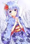 1girl :d animal_ears bare_tree blue_eyes blue_hair blue_kimono blush braid cat_ears cherry_blossom_print commentary_request dutch_angle facial_mark final_fantasy final_fantasy_xiv floral_print flower hair_flower hair_ornament hands_up holding japanese_clothes kedama_(kedama_akaza) kimono looking_at_viewer miqo'te new_year obi open_mouth print_kimono red_flower sash short_sleeves smile snowing solo tree wide_sleeves