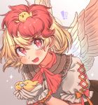 !! 1girl :d animal animal_on_head bangs bird blonde_hair blush chick commentary_request eyebrows_visible_through_hair feathered_wings frilled_shirt_collar frills gloves grey_background hair_between_eyes highres holding holding_animal looking_at_viewer masanaga_(tsukasa) multicolored_hair niwatari_kutaka on_head open_mouth puffy_short_sleeves puffy_sleeves red_eyes redhead shirt short_hair short_sleeves smile sparkle touhou two-tone_hair upper_body white_gloves white_shirt wings