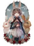 1girl animal animal_ears apron aqua_eyes bare_shoulders blue_eyes clouds collar cowboy_shot detached_sleeves dress flower flower_wreath grey_hair hand_on_own_chest highres looking_at_viewer open_mouth original outstretched_arm oversized_animal rabbit rabbit_ears red_eyes rose senano-yu sky