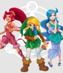 1boy 2girls blonde_hair blue_dress blue_eyes blue_hair boots bracelet din dress feathers green_headwear green_tunic jewelry link long_hair looking_at_viewer multiple_girls nayru necklace pointy_ears ponytail red_eyes redhead sandals sword tan the_legend_of_zelda the_legend_of_zelda:_oracle_of_ages the_legend_of_zelda:_oracle_of_seasons user_tffd2482 weapon