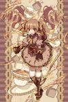 1girl :d animal_ears blurry blush boots brown_eyes brown_hair brown_theme depth_of_field dress drill_hair frame highres juliet_sleeves knee_boots long_sleeves looking_at_viewer mogmogyasai open_mouth original puffy_sleeves smile solo sparkle sugar_cube tea teaspoon