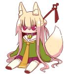 1girl alternate_hair_length alternate_hairstyle animal_ear_fluff animal_ears bangs bell bell_collar blonde_hair blush brown_collar brown_footwear collar fox_ears fox_girl fox_tail full_body green_shirt hair_between_eyes hair_bun hair_ornament highres jingle_bell kemomimi-chan_(naga_u) long_hair long_sleeves looking_at_viewer naga_u orange_neckwear original pet_collar pleated_skirt purple_skirt red_eyes ribbon-trimmed_legwear ribbon_trim sailor_collar shadow shirt sitting skirt sleeves_past_fingers sleeves_past_wrists solo tail thigh-highs very_long_hair white_background white_legwear white_sailor_collar