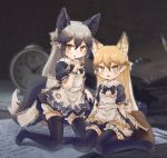 2girls :3 alternate_costume animal_ears apron back_bow bell bell_collar black_dress black_legwear black_neckwear bloomers blue_bow bow bowtie collar commentary_request dress enmaided extra_ears eyebrows_visible_through_hair ezo_red_fox_(kemono_friends) fang fox_ears fox_girl fox_tail fur_collar grey_hair highres kemono_friends kneeling kolshica long_hair maid maid_apron maid_dress multicolored_hair multiple_girls no_shoes open_mouth orange_bow orange_hair puffy_short_sleeves puffy_sleeves red_collar short_sleeves silver_fox_(kemono_friends) silver_hair sitting tail thigh-highs underwear wariza white_bow yellow_eyes zettai_ryouiki