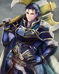 1boy armads belt blue_armor blue_eyes blue_hair fire_emblem fire_emblem:_the_blazing_blade gloves hair_slicked_back hand_on_hip hector_(fire_emblem) looking_at_viewer pants shinrin_kusaba short_hair white_pants