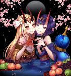1991_(blz) 2girls bangs blonde_hair blunt_bangs breasts brown_eyes cherry_blossoms closed_mouth commentary_request eyebrows_visible_through_hair facial_mark fang fang_out fate/grand_order fate_(series) flower food forehead_mark fruit gourd grapes green_apple grin headpiece heart heart_hands heart_hands_duo horns ibaraki_douji_(fate/grand_order) japanese_clothes kimono long_hair multiple_girls obi off_shoulder oni oni_horns partially_submerged peach petals pink_flower purple_hair purple_kimono sash short_eyebrows shuten_douji_(fate/grand_order) small_breasts smile thick_eyebrows tree_branch violet_eyes yellow_kimono