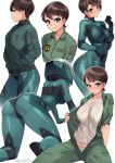 1girl all_fours artist_name ass bodysuit breasts brown_hair commentary covered_nipples english_commentary frown green_eyes hands_in_pockets helmet highres hisone_to_masotan hoshino_eri iwbitu-sa jacket jumpsuit large_breasts looking_at_viewer looking_away multiple_views open_jumpsuit pilot_suit shirt short_hair simple_background smile sweatdrop twitter_username white_background white_shirt