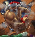 2boys artist_name beard black_hair broken_wall bulging_eyes clenched_hand commentary_request dated emphasis_lines facial_hair green_eyes hat long_hair matataku multiple_boys muscle nipples old_man original pants red_headwear red_pants santa_claus santa_hat shirtless surprised_cat_(matataku) thick_eyebrows under_covers v-shaped_eyebrows veins waking_up white_hair