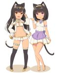 2girls :d animal_ears anklet armlet bandeau bare_legs black_hair black_legwear cat_ears cat_girl cat_tail collar dress flats full_body hairband hand_on_hip hand_up headdress hood hood_down hooded_jacket jacket jewelry long_hair long_sleeves looking_at_viewer microskirt midriff multiple_girls navel open_clothes open_jacket open_mouth orange_eyes original parted_lips pleated_skirt sasaame short_hair skirt sleeveless sleeveless_dress smile tail thigh-highs v violet_eyes white_background white_dress white_jacket white_skirt