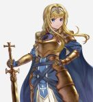 1girl alice_schuberg bangs blonde_hair blue_eyes commentary_request daikichi_(artist) frown gauntlets gold_armor hairband highres holding long_hair looking_at_viewer simple_background solo sword_art_online sword_art_online_alicization very_long_hair white_background