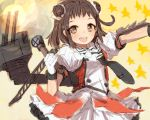 1girl adapted_turret alchera antenna_hair black_neckwear brown_eyes brown_hair cannon cowboy_shot double-breasted double_bun firing gloves kantai_collection machinery microphone muzzle_flash naka_(kantai_collection) necktie remodel_(kantai_collection) sailor_collar school_uniform serafuku solo star starry_background turret white_gloves white_sailor_collar yellow_background