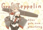 1girl absurdres black_legwear black_skirt blonde_hair capelet celtic_knot character_name commentary_request flight_deck german_text graf_zeppelin_(kantai_collection) grey_eyes hair_between_eyes happy_birthday hat highres iron_cross jacket kantai_collection long_hair looking_at_viewer machinery military military_hat military_uniform miniskirt pantyhose peaked_cap pleated_skirt pot-de sidelocks skirt solo standing tsurime twintails twitter_username uniform