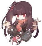 >:( 1girl bangs black_hair black_jacket black_legwear boots character_doll chibi closed_mouth commentary_request dinergate_(girls_frontline) eyebrows_visible_through_hair fake_beard fake_facial_hair fake_mustache fringe_trim full_body girls_frontline grey_footwear hair_ribbon jacket kotatu_(akaki01aoki00) light_frown long_hair long_sleeves one_side_up pantyhose red_eyes red_ribbon red_scarf ribbon scarf simple_background sitting sleeves_past_wrists solo stuffed_animal stuffed_reindeer stuffed_toy v-shaped_eyebrows very_long_hair wa2000_(girls_frontline) white_background