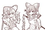 2girls apron ascot bangs bare_shoulders bow commentary cowboy_shot detached_sleeves eyebrows_visible_through_hair frilled_bow frills gohei grin hair_tubes hakurei_reimu hand_up hat hat_bow holding index_finger_raised juliet_sleeves kirisame_marisa long_hair long_sleeves looking_at_viewer monochrome multiple_girls ofuda puffy_sleeves shirt sidelocks simple_background smile standing star touhou vest waist_apron white_background witch_hat wool_(miwol) yin_yang