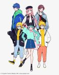 2boys 4girls aqua_eyes aqua_hair arm_up bag bangs black_headwear blonde_hair blue_eyes blue_hair bomber_jacket brown_eyes brown_hair character_name checkered checkered_legwear closed_mouth coat collar collarbone collared_shirt commentary_request glasses hair_between_eyes hair_ornament hairclip hat hatsune_miku highres hood hoodie jacket kagamine_len kagamine_rin kaito kisaragi_yuu_(fallen_sky) long_hair looking_at_viewer megurine_luka meiko multiple_boys multiple_girls official_art one_eye_closed open_mouth pants parted_lips pink_hair round_eyewear shirt shoelaces shoes short_hair skirt smile sneakers socks standing twintails very_long_hair vocaloid white_footwear