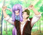 1boy 1girl amano_jack_(paradise_jack) bangs blush commentary covering_one_eye dress english_commentary eyebrows_visible_through_hair eyes_visible_through_hair fantasy forest green_hair hair_over_one_eye holding_hands lamia lavender_hair long_hair monster_girl nature open_mouth original pointy_ears scales shirt short_hair stretch tail tree upper_body v-shaped_eyebrows violet_eyes