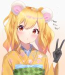 1girl aikatsu!_(series) aikatsu_stars! animal_ears bangs black_gloves blonde_hair blue_bow blush bow brown_background chinese_zodiac eyebrows_visible_through_hair floral_print gloves gradient gradient_background grey_background hair_between_eyes hand_up happy_new_year highres japanese_clothes k_mugura kemonomimi_mode kimono long_hair looking_at_viewer mouse_ears new_year nijino_yume obi parted_lips print_kimono red_eyes sash solo twintails v wide_sleeves year_of_the_rat yellow_kimono