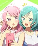 2girls :o aqua_eyes aqua_hair bang_dream! bangs blush cellphone harusawa hashtag hikawa_hina holding holding_phone long_hair maruyama_aya multiple_girls nail_polish notice_lines phone pink_eyes pink_hair red_nails self_shot short_hair side_braids smartphone sweatdrop thank_you twitter_username upper_body v