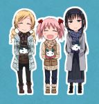 3girls :d akemi_homura bangs black_footwear black_hair black_pants blonde_hair blue_pants blue_skirt blush_stickers boots brown_footwear brown_gloves brown_jacket brown_sweater closed_eyes closed_mouth coat cross-laced_footwear drill_hair eyebrows_visible_through_hair facing_viewer full_body fur-trimmed_boots fur_trim gloves grey_coat hair_ribbon hairband half-closed_eyes holding jacket kaname_madoka lace-up_boots long_hair long_skirt long_sleeves looking_at_viewer mahou_shoujo_madoka_magica multiple_girls open_clothes open_coat open_mouth outline pants pink_hair purple_gloves red_gloves red_ribbon ribbed_sweater ribbon ryuunosuke_(luckyneco) scarf skirt smile standing striped striped_scarf sweater tomoe_mami twin_drills twintails violet_eyes white_outline