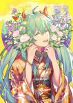 1girl 2020 :d ^_^ absurdres ahoge bangs closed_eyes colored_eyelashes commentary_request eyebrows_visible_through_hair floral_print flower green_hair hair_between_eyes hair_ribbon hands_up hatsune_miku highres holding holding_flower japanese_clothes kimono koi_han long_hair long_sleeves lower_teeth obi open_mouth pink_flower pink_rose print_kimono purple_flower red_ribbon ribbon rose sash smile solo twintails upper_body vocaloid wide_sleeves yellow_background yellow_flower