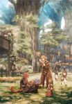 1boy 4girls animal animal_ears au_ra bare_shoulders bird black_legwear blonde_hair blue_eyes blue_sky braid brown_hair bug butterfly cat_ears cat_tail chocobo clouds dark_skin dark_skinned_male day dog dragon_girl dragon_horns dragon_tail earrings final_fantasy final_fantasy_xiv fingers_together grass gridania highres hood hood_down horns insect jewelry lalafell lion_tail long_sleeves maekakekamen miqo'te multiple_girls open_mouth outdoors pink_hair plant potted_plant rabbit scholar_(final_fantasy) short_hair sitting sky sparrow speech_bubble staff standing tail tapir thigh-highs tree twin_braids white_legwear white_mage zettai_ryouiki
