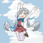1girl ahoge blue_sky boots bow bowtie ceroliz clouds cross-laced_footwear full_body grey_eyes grey_hair grey_legwear hair_between_eyes hair_bun halterneck highres jumping kantai_collection kiyoshimo_(kantai_collection) lace-up_boots long_hair low_twintails pantyhose shirt sky solo twintails very_long_hair white_shirt