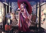 1girl animal_ear_fluff animal_ears applekun architecture bangs blunt_bangs breasts carrying_over_shoulder ceramics chinese_clothes day east_asian_architecture floral_print flower full_body geta gradient_hair hair_flower hair_ornament hanfu happy_new_year heterochromia highres holding holding_umbrella japanese_clothes kimono lantern long_hair long_sleeves medium_breasts multicolored_hair nail_polish new_year original painting_(object) petals photo_background pink_hair pink_nails purple_hair red_eyes round_window sash sayagata standing stool tabi tassel two_side_up umbrella vase very_long_hair violet_eyes window_shade wooden_floor
