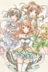 3girls arm_warmers black_hair blue_dress brown_hair dress green_dress hair_ornament highres houjou_karen idolmaster idolmaster_cinderella_girls inori_(pokemoart) kohinata_miho looking_at_viewer multiple_girls smile takamori_aiko white_dress