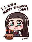 1girl 2020 artist_name black_hair blush_stickers cake candle chroneco dress food happy_birthday kurosawa_dia long_hair love_live! love_live!_sunshine!! mole mole_under_mouth new_year open_mouth