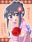 1girl 2020 :d bangs black_hair blue_bow blue_flower blush bow brown_background candy_apple commentary_request eyebrows_visible_through_hair floral_print flower food hair_between_eyes hair_flower hair_ornament hana_kazari highres holding holding_food japanese_clothes kimono leaning_forward long_sleeves looking_at_viewer obi open_mouth outline pink_kimono print_kimono red_flower sash shirosaki_hana sidelocks sleeves_past_wrists smile solo translated violet_eyes watashi_ni_tenshi_ga_maiorita! white_outline wide_sleeves