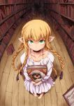 1girl barefoot blonde_hair book braid death_(entity) dress dungeon_meshi elf fisheye green_eyes highres library long_hair looking_at_viewer marcille pointy_ears rei_oe tearing_up tentacles white_dress wooden_floor younger