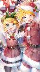 1boy 1girl aqua_eyes arms_up bangs bell belt black_gloves black_skirt blonde_hair blurry blurry_background blush bow box capelet christmas commentary cowboy_shot daidou_(demitasse) dress fur-trimmed_capelet fur-trimmed_dress fur-trimmed_jacket fur-trimmed_shorts fur-trimmed_skirt fur_trim gift gift_box gloves green_bow hair_bow hair_ornament hairclip hat highres holding holding_gift holding_sack holly_hair_ornament jacket kagamine_len kagamine_rin looking_at_viewer neck_bell one_eye_closed open_mouth outdoors red_capelet red_dress red_headwear red_jacket red_shorts sack santa_costume santa_dress santa_hat short_hair shorts skirt smile snowing spiky_hair standing swept_bangs thigh-highs vocaloid