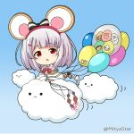1girl :o animal_ears balloon bangs blush bow chibi clouds commentary_request eyebrows_visible_through_hair granblue_fantasy grey_hair hair_bow hair_ornament hairclip heart holding holding_balloon long_sleeves looking_at_viewer miicha mouse_ears parted_lips red_bow red_eyes shirt solid_circle_eyes solo striped striped_bow twitter_username vikala_(granblue_fantasy) white_shirt wide_sleeves