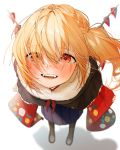 1girl :d alternate_costume bangs black_footwear black_jacket blonde_hair blue_skirt blush boots casual check_commentary commentary commentary_request contemporary cross-laced_footwear crystal eyebrows_visible_through_hair flandre_scarlet fur_trim gotoh510 hair_over_one_eye highres jacket lace-up_boots looking_at_viewer open_mouth pleated_skirt red_eyes shadow side_ponytail simple_background skirt smile solo standing teeth touhou white_background wings