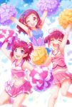 3girls :d ;d absurdres arakawa_tarou arm_up arms_up bangs blue_ribbon blue_shirt blue_skirt bow cheerleader closed_eyes clothes_writing collared_shirt color_connection commentary eyebrows_visible_through_hair facing_viewer hair_bow hair_color_connection hair_ribbon highres holding_pom_poms hoshizora_miyuki hugtto!_precure jumping leg_up long_hair looking_at_viewer midriff miniskirt multiple_girls navel nono_hana one_eye_closed open_mouth pink_bow pink_shirt pink_skirt pleated_skirt precure ribbon series_connection shirt short_hair short_twintails single_horizontal_stripe skirt sleeveless sleeveless_shirt smile smile_precure! standing standing_on_one_leg twintails two_side_up yes!_precure_5 yumehara_nozomi