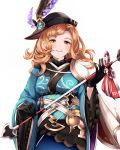 1girl absurdres angruoxin arrow black_gloves black_headwear blush breasts brown_eyes brown_hair gloves granblue_fantasy hamaya hat hat_ornament highres holding_arrow japanese_clothes kimono long_hair looking_at_viewer new_year parted_lips simple_background smile solo song_(granblue_fantasy) standing white_background wide_sleeves
