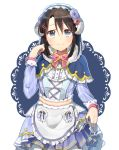 1girl apron bang_dream! black_hair blue_capelet blue_dress blue_flower blue_rose bow bowtie capelet center_frills cross-laced_clothes doily dress flower frilled_apron frilled_capelet frills fur-trimmed_capelet fur_trim grey_eyes hair_flower hair_ornament hairband hairclip harusawa horns lolita_hairband long_hair long_sleeves looking_at_viewer medium_hair okusawa_misaki outline pink_flower pink_neckwear pink_rose pom_pom_(clothes) red_flower red_rose rose sheep_horns skirt_hold smile solo star striped striped_dress waist_apron white_apron white_outline