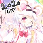 1girl 2020 animal animal_ears balloon bangs blush bow cheese collared_shirt commentary_request eyebrows_visible_through_hair fingernails food granblue_fantasy hair_bow hair_ornament hairclip happy_new_year heart holding holding_animal kittipat_jituatakul long_sleeves mouse mouse_ears nail_polish new_year one_eye_closed parted_lips petals purple_nails red_bow red_eyes shirt solo striped striped_bow upper_body v_over_eye vikala_(granblue_fantasy) white_hair white_shirt wide_sleeves