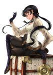 accord bangs belt black_hair drag-on_dragoon drag-on_dragoon_3 earrings glasses gloves jewelry long_hair senruisa skirt thigh-highs twintails