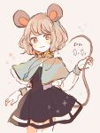 1girl 2020 animal_ears bangs black_dress blush capelet closed_mouth commentary cowboy_shot dress grey_hair jewelry long_sleeves looking_at_viewer mouse mouse_ears mouse_girl mouse_tail mozukuzu_(manukedori) nazrin pendant red_eyes shirt short_hair simple_background solo tail touhou white_shirt