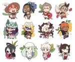 5girls 6+boys :3 :d ahoge aqua_hair aqua_headwear bangs beanie beans beet_(pokemon) beetroot black_hair blue_eyes bright_pupils brown_headwear chibi closed_eyes closed_mouth closed_umbrella commentary_request dark_skin dark_skinned_male earrings flower food freckles fruit gloves grey_hair gym_leader hair_bun hair_over_one_eye hairband hand_in_pocket hat holding holding_poke_ball holding_umbrella hoop_earrings jacket jewelry kabu_(pokemon) kibana_(pokemon) kicking long_hair looking_at_viewer makuwa_(pokemon) mary_(pokemon) melon melon_(pokemon) microphone_stand multicolored_hair multiple_boys multiple_girls muskmelon nezu_(pokemon) object_namesake old_woman one_eye_closed onion onion_(pokemon) open_mouth orange_headwear pink_hair pointing pointing_at_viewer poke_ball poke_ball_(generic) pokemon pokemon_(game) pokemon_swsh poplar_(pokemon) rurina_(pokemon) saitou_(pokemon) simple_background smile squatting ssalbulre sun_hat sunglasses swimsuit tankini tree turnip two-tone_hair umbrella white_background white_headwear white_pupils yarrow_(pokemon)