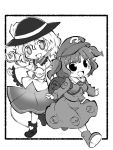 2girls :d backpack bag bangs blush boots collared_shirt eyeball flat_cap frame frilled_shirt_collar frilled_sleeves frills full_body greyscale hair_bobbles hair_ornament hat heart heart_of_string kawashiro_nitori komeiji_koishi long_sleeves monochrome multiple_girls open_mouth pocket puffy_sleeves shirt short_hair short_twintails simple_background skirt smile standing third_eye touhou twintails two_side_up wavy_hair white_background wide_sleeves zubatto_(makoto)