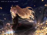 1girl artist_name bangs black_dress blonde_hair bow breasts cage chain closed_mouth dated dress earrings ereshkigal_(fate/grand_order) fate/grand_order fate_(series) floating_hair flower from_side hair_bow holding jewelry lens_flare long_hair long_sleeves looking_at_viewer looking_to_the_side medium_breasts mento night night_sky outdoors parted_bangs petals pink_bow red_eyes shooting_star sky smile solo star_(sky) starry_sky tiara two_side_up very_long_hair weibo_username yellow_flower