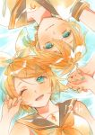1boy 1girl absurdres afloat aqua_eyes aqua_nails bangs bare_shoulders black_collar blonde_hair bow collar commentary crop_top from_above hair_bow hair_ornament hairclip hand_up highres holding_hands kagamine_len kagamine_rin looking_at_viewer nail_polish neckerchief nidozuke one_eye_closed open_mouth ripples sailor_collar school_uniform shirt short_hair short_sleeves smile spiky_hair swept_bangs symmetry vocaloid water white_bow white_shirt yellow_neckwear