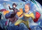:o bald belt black_hair blue_eyes boots cape chen_yue city closed_eyes covered_navel explosion from_above fubuki_(one-punch_man) green_hair looking_at_viewer medium_hair one-punch_man saitama_(one-punch_man) serious skin_tight sky tatsumaki