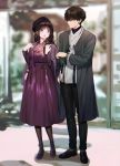 1boy 1girl bangs black_hair blurry blurry_background casual chitanda_eru couple dress full_body green_eyes highres hyouka long_hair looking_at_another mery_(apfl0515) open_mouth oreki_houtarou outdoors pants shoes short_hair standing urban violet_eyes