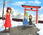 3girls bare_shoulders black_boots black_skirt blonde_hair blue_eyes blue_skirt blue_sky blush boots brown_boots brown_hair coat collar detached_sleeves fence frills frog_hair_ornament green_hair hair_ribbon hair_tubes hakurei_reimu kirisame_marisa kochiya_sanae leafless_tree long_hair looking_back mokutan_(link_machine) mountain mountain_range neckerchief necktie open_mouth red_skirt ribbon scarf shivering short_hair shovel snow temple_grounds torii tree witch_hat