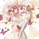 1girl anniversary arm_up armpits bangs blue_eyes boots breasts bug butterfly character_name commentary dress eyelashes feet_out_of_frame fingernails floating_hair headphones highres insect large_breasts leg_up lena_(zoal) long_hair looking_at_viewer megurine_luka pink_hair pink_nails purple_butterfly smile thigh-highs thigh_boots vocaloid white_dress